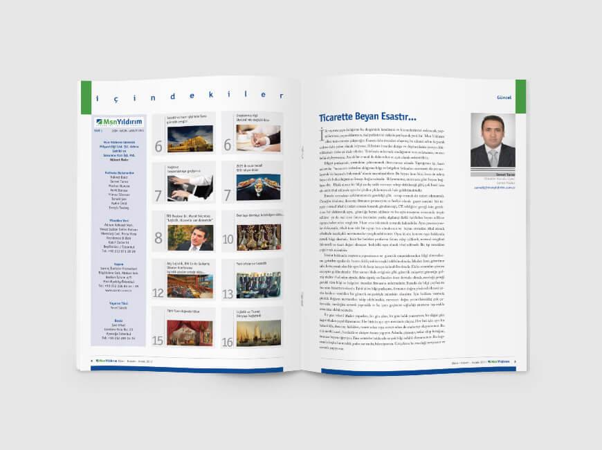 Msn Yıldırım Kurumsal Dergi Tasarımı Sayı: 1