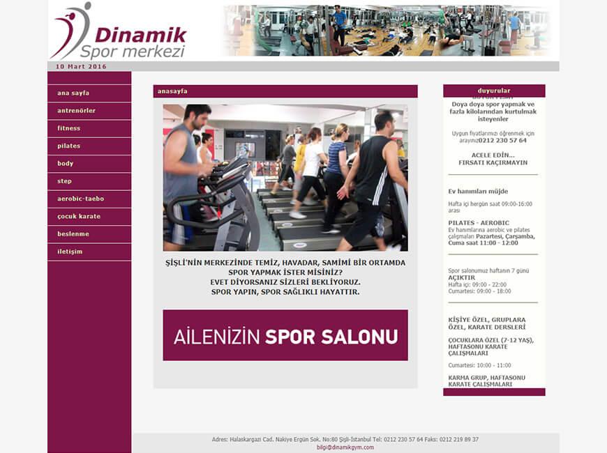 Dinamik Spor Merkezi Web Site Tasarımı