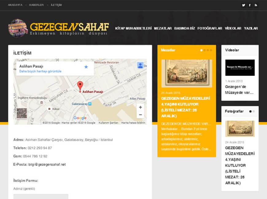 Gezegen Sahaf Web Site Tasarımı