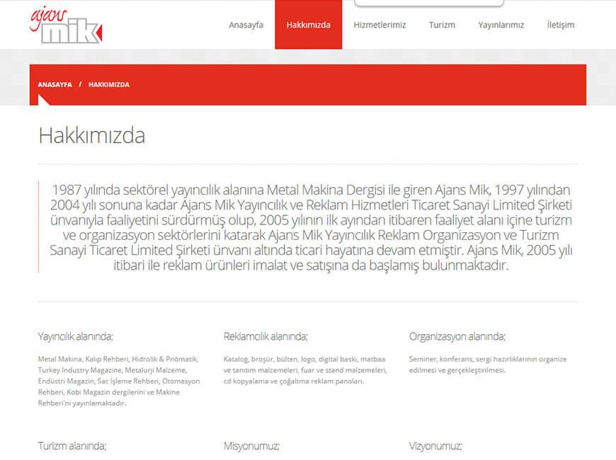 Ajans Mik Web Site Tasarımı