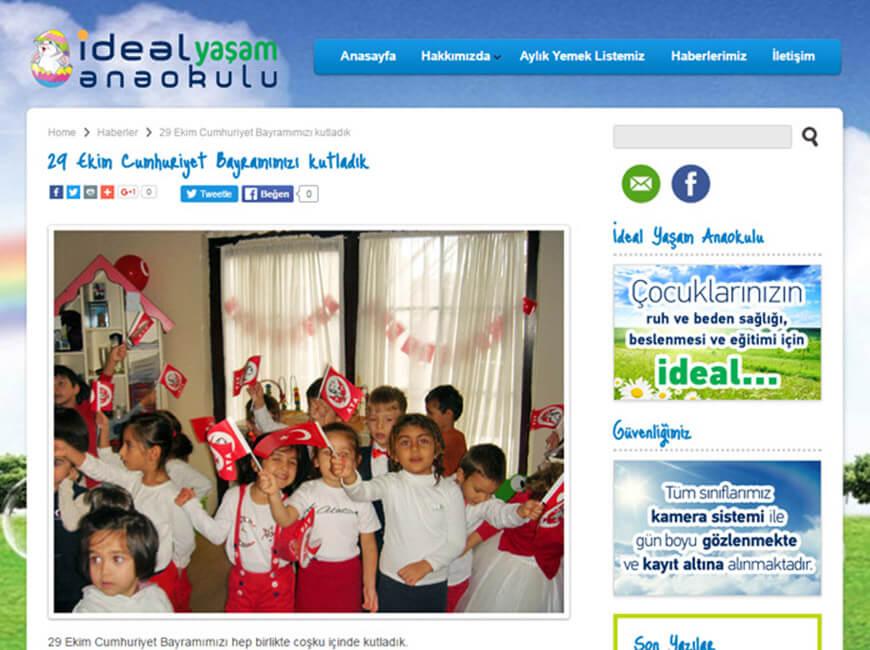 İdeal Yaşam Anaokulu Web Site Tasarımı