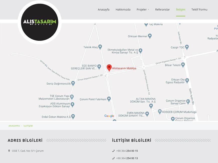 Alis Tasarım Mobilya Web Site Tasarımı