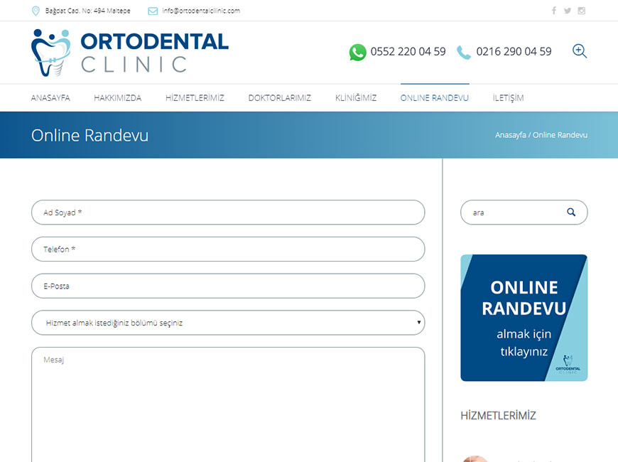 Ortodental Clinic Web Site Tasarımı