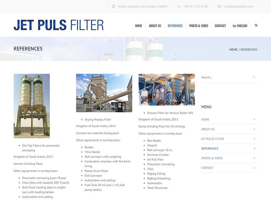 Jet Puls Filter Web Site Tasarımı