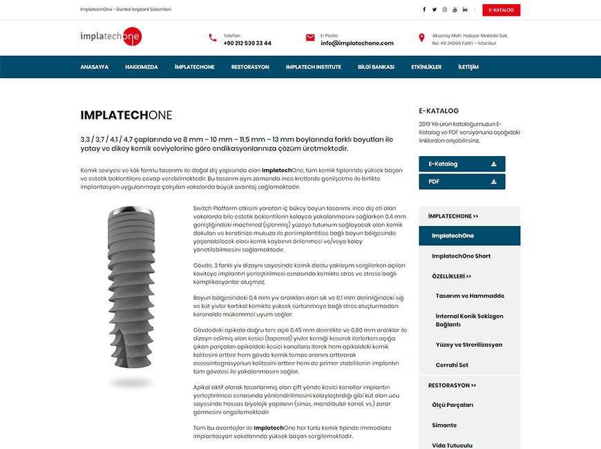 ImplatechOne Dental İmplant Sistemleri Web Site Tasarımı