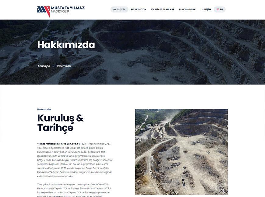 Mustafa Yılmaz Madencilik Web Site Tasarımı